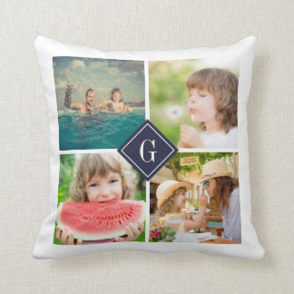 Navy Monogram Instagram Photo Collage Throw Pillow