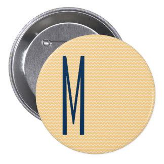 Navy Monogram on Mini Orange Chevron Pattern 7.5 Cm Round Badge