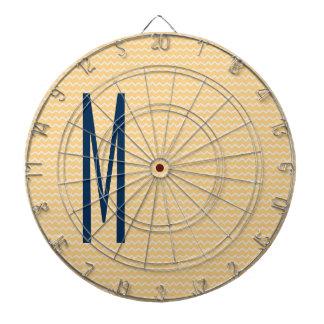 Navy Monogram on Mini Orange Chevron Pattern Dartboard