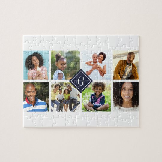 Navy Monogram Photo Collage Jigsaw Puzzle