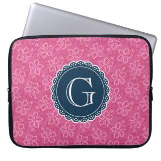 Navy Monogram Pink Hibiscus Pattern Laptop Sleeve