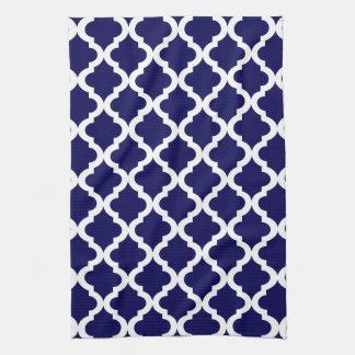 Navy Moroccan Quatrefoil Print Tea Towel