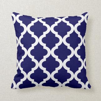 Navy Moroccan Quatrefoil Print Throw Cushion