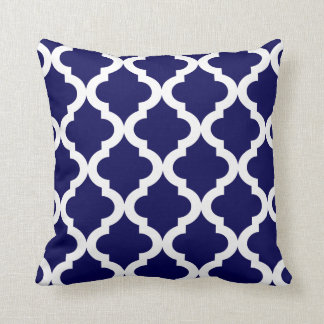 Navy Moroccan Quatrefoil Print Throw Pillow