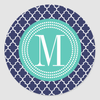 Navy Moroccan Tiles Lattice Personalized Classic Round Sticker