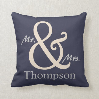 Navy Mr. and Mrs. Couple's Cushion