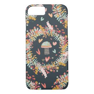 Navy Mushroom Love Pattern iPhone 7 Case