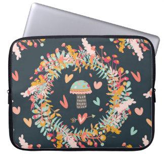Navy Mushroom Love Pattern Laptop Sleeves
