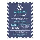 Navy Nautical Chevron Baby Shower Invitation