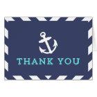 Navy Nautical Chevron Thank You Card