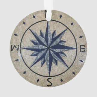 Navy Nautical Compass North south East West Marble
