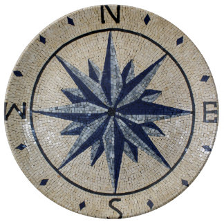 Navy Nautical Compass North south East West Marble Porcelain Plates