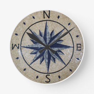 Navy Nautical Compass North south East West Marble Round Clock