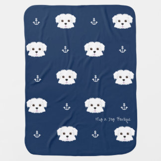 Navy Nautical Cute Puppy Baby Bed Baby Blanket