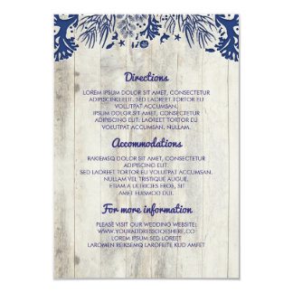 Navy Nautical Driftwood Beach Wedding Details Card