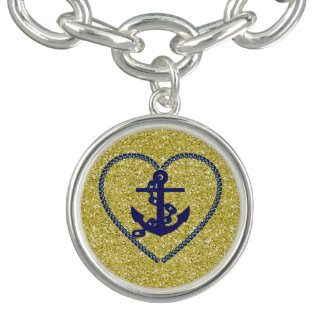 Navy Nautical Heart Anchor Gold Faux Glitter