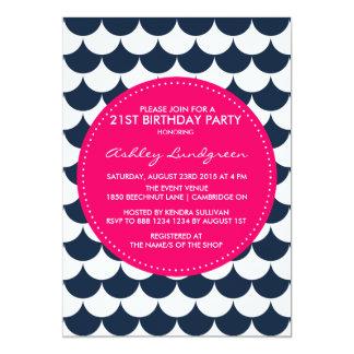 Navy Nautical Scallop Pattern Birthday Invitation