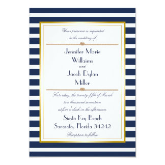 Navy Nautical Stripe Rope Wedding Invitation