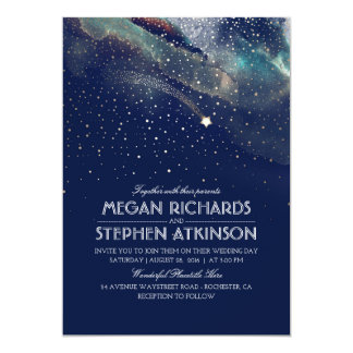 Navy Night Gold Shooting Star Elegant Wedding Card