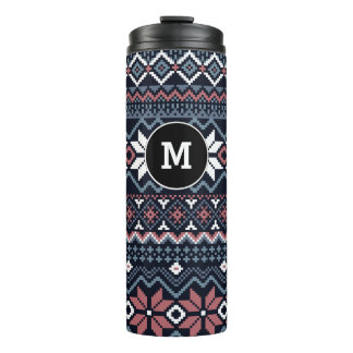 Navy Nordic Snowflake Cross Stitch Sweater Pattern Thermal Tumbler