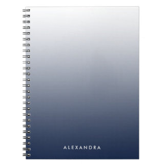 Navy Ombre Gradient Personalized Notebooks