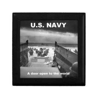 navy open door gift box