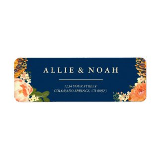 Navy & Orange Floral Wreath Wedding Return Address Label