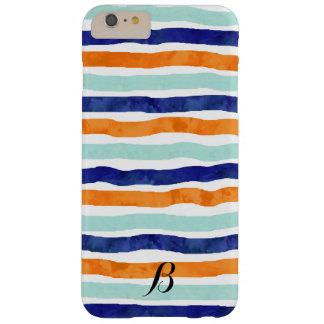 Navy Orange Sky Blue Stripes iPhone 6/6s Plus Case