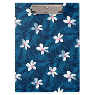 Navy palm leaves with frangipani clipboard