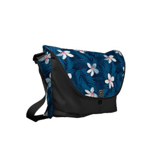 Navy palm leaves with frangipani courier bags
