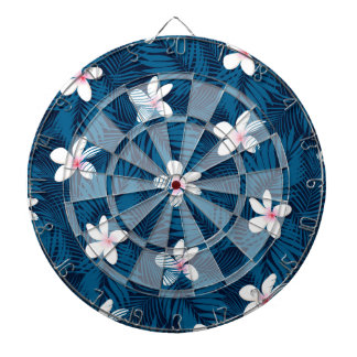 Navy palm leaves with frangipani dartboard