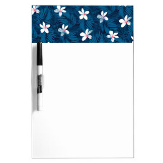 Navy palm leaves with frangipani dry erase board