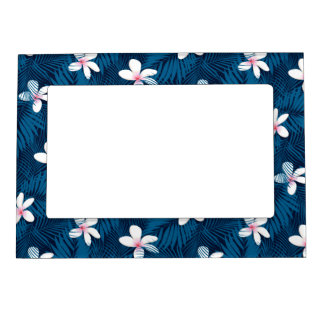 Navy palm leaves with frangipani magnetic picture frame