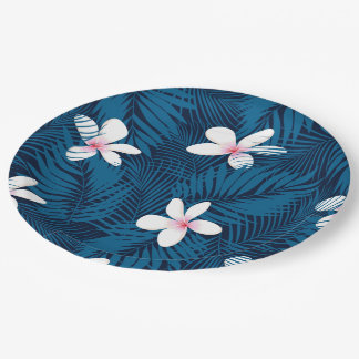 Navy palm leaves with frangipani paper plate