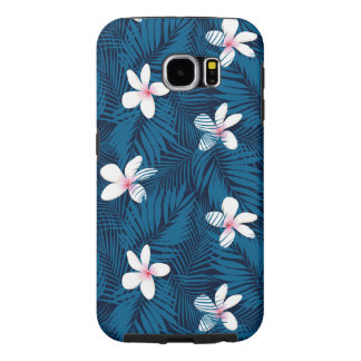 Navy palm leaves with frangipani samsung galaxy s6 cases