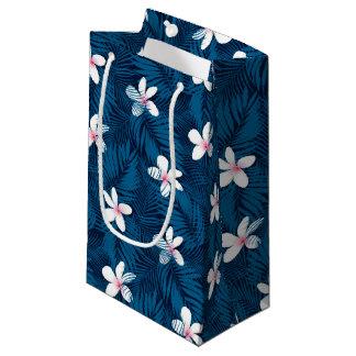 Navy palm leaves with frangipani small gift bag