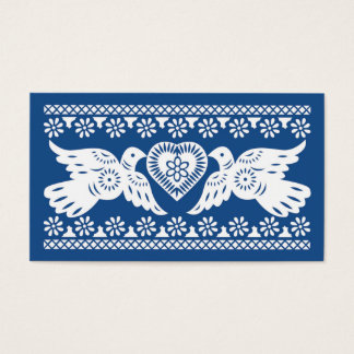 Navy Papel Picado Lovebirds Place card