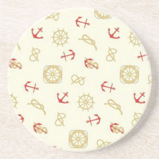 Navy pattern red anchors beverage coasters