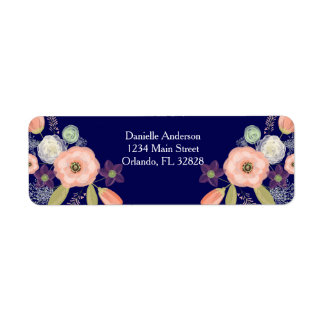 Navy Peach Watercolor Floral Return Address Labels