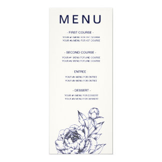 Navy Peony Simple Menu Card