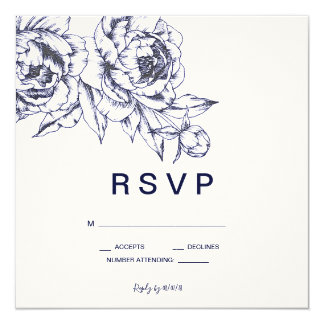 Navy Peony Simple RSVP Card