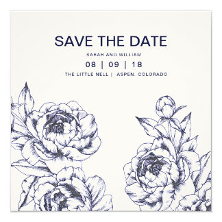 Navy Peony Simple Save the Date Card