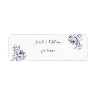 Navy Peony Simple Wedding Address Label