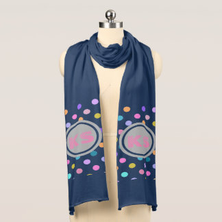 Navy personal confetti polka dots colorful scarf