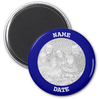 Navy Personalised Round Photo Border Magnet