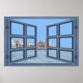 Navy Pier 6 Pane Open Window Poster