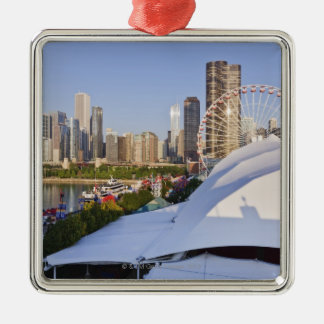 Navy Pier and Downtown Chicago Metal Ornament
