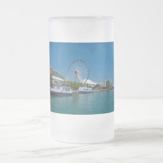Navy Pier Frosted Glass Beer Mug