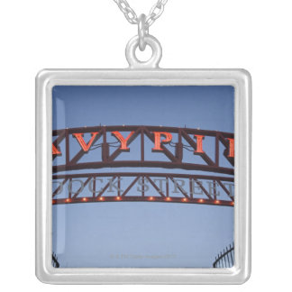 Navy Pier sign in Chicago Illinois USA Silver Plated Necklace