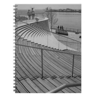 Navy Pier Stairs Grayscale Notebooks
